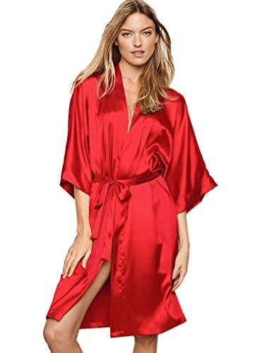 Victoria's Secret Satin Kimono Bademantel, sehr sexy, Rot, XS/S