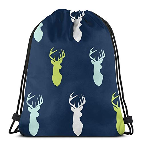 beautiful& Bear Creek Multi Buck Heads On Navy_13557 3D Print Drawstring Backpack Rucksack Shoulder Bags Gym Bag for Adult 16.9