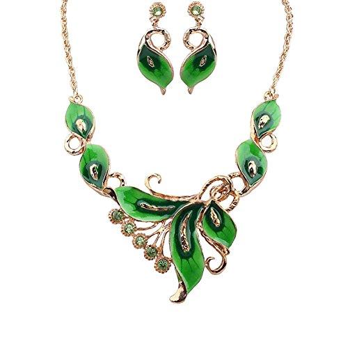 Youkara Damen Schmuck-Set Ring Ohrringe Schmuck- Schmetterling-Anhänger-Halskette passend für Muttertags-Feiertags Geschenke der Frauen(Grün)