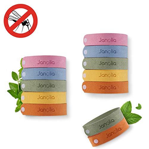 Janolia 12 Pulsera Repelente de Mosquitos, Materias Natutales y No Tóxico, Aceites Esenciales, Se Puede Cambiar el Tamaño, ES Ajustables para los Niños y Adultos