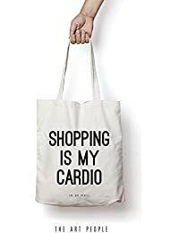 [Sponsored]Shopping Is My Cardio Tote Bag Reusable Grocery Bag Machine Washable Canvas Shopping Bags With Long Handy Straps...