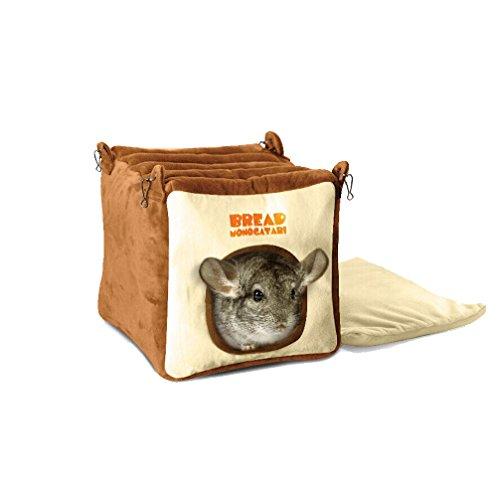 emours Pequeño Animal relleno Casa Jaula Cama Colgante, cama con alfombrilla para chinchilla, Conejillos de Indias, ardilla y otros animales de tamaño similar, grande