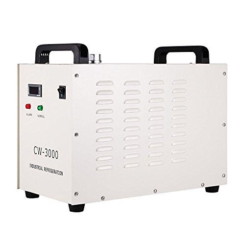Autovictoria Water Chiller 9L Agua de Enfriamiento Industrial 10L / min de Agua Chiller Enfriador 50W / ℃ Agua de Refrigeración Chiller 60 Tubo / 80W CO2 Láser de Cristal (CW3000)