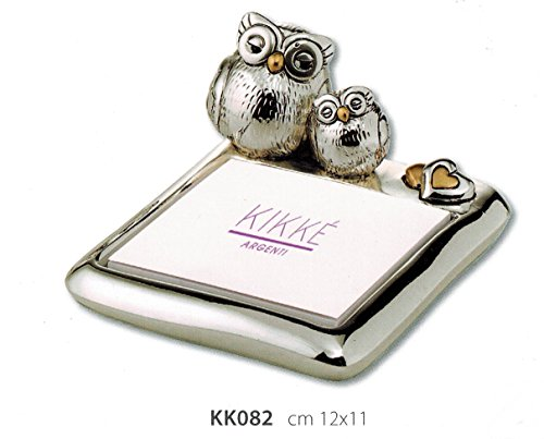 Kikke porta post it con coppia gufi gugol cm12x11 inserti dorati laminato argento made in italy