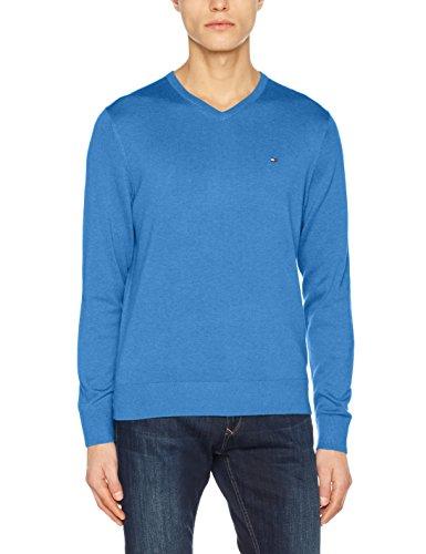 Tommy Hilfiger Herren Cotton Silk Vneck Pullover, Blau (Regatta Heather 492), Large