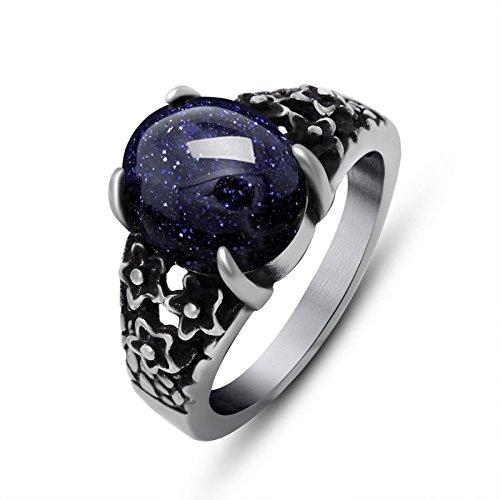 Beydodo Punk Herren-Ring Titan Silber Schwarz Drachen Kralle Oval Blau Zirkonia mit Stern Freundschaftsringe Gothic Ringe Männer Größe 62 (19.7) (Region 10 Kostüm)