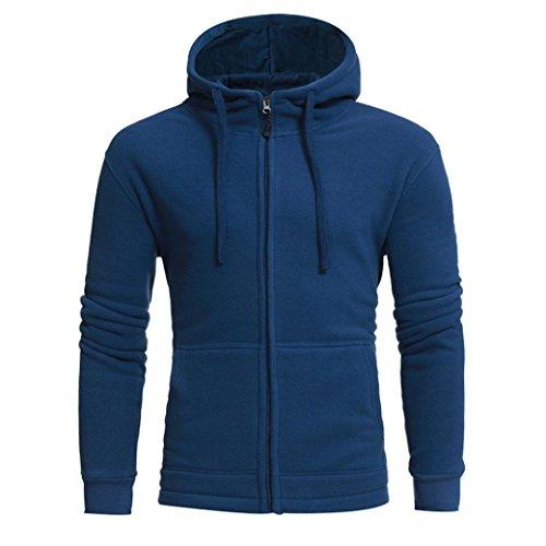 Sannysis Herren Langarm Kapuzenpullover Kapuzenpulli Hoodie Sweatshirt Jacke Mantel Outwear (M, Blau)