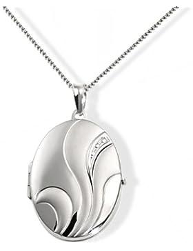 Goldmaid Damen-Halskette 925 Sterling Silber Medallion Blume 45 cm zum Öffnen für Bilder