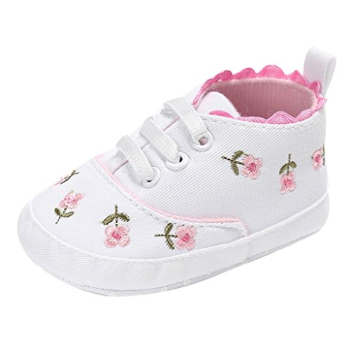 Girls Shoes, SHOBDW Newborn Baby Girls Floral Crib Soft Sole Anti-slip Canvas Infant Sneakers (0-6 Months, White)