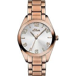 S.Oliver Damen-Armbanduhr Analog Quarz (One Size, weiß)