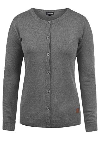 DESIRES Effie Damen Strickjacke Feinstrick Cardigan Strickcardigan Mit Rundhals Und Knopfleiste, Größe:L, Farbe:Grey Melange (8236) Tennis-damen-sweatshirt