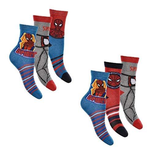 6er Pack Spiderman Jungen Socken 23 - 26 (Herren-socken Spiderman)