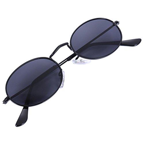 SODIAL Ovale Sonnenbrille Herren Damen Vintage Maennlich Weiblich Retro Sonnenbrille Runde Brillen S8006 schwarzer Rahmen schwarz
