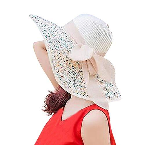 Strohhut Strandmütze für Sommerurlaub Strand Walking Sonnenhüte Candy Farbe Sunhat Bowknot Dekoration Casual Style(Beige,free)