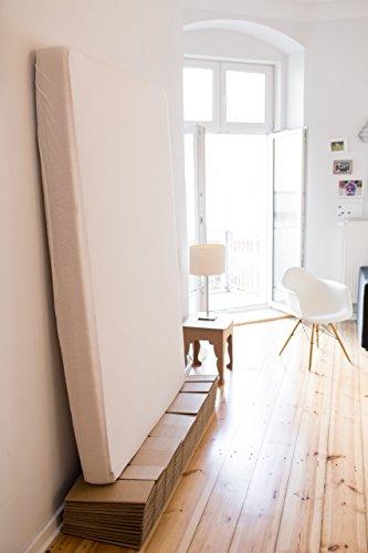 ROOM IN A BOX | Bett 2.0 S/S: Nachhaltiges Klappbett aus Wellpappe in der Größe 90 x 200 cm und alle Zwischengrößen. Ideal auch als praktisches Gästebett, da leicht verstaubar und ein Lattenrost nicht benötigt wird. - 4