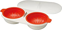 Joseph Joseph M-Cuisine Microwave Plastic Egg Poacher, Orange/Beige