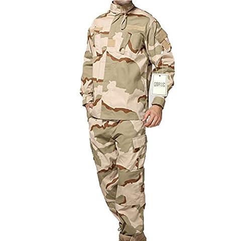 QMFIVE Tactical Camouflage désert Hommes BDU Combat Uniforme Veste T-shirt et Pantalon Suit Woodland Camo pour Guerre Guerre Armée Militaire Paintball Airsoft Hunting Shooting(L)