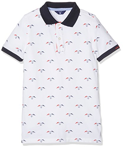 Gant Boy's O. All Over Flag Print SS Rugger Polo Shirt