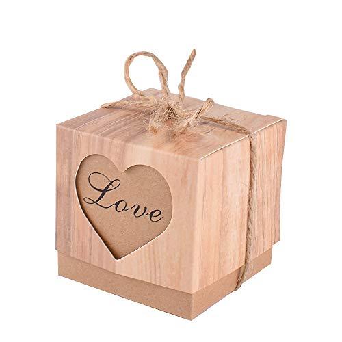 4fa6236f4c99 Gudotra 100pz scatole carta kraft cuore love+100 corde scatoline  portaconfetti per confetti bomboniere segnaposto