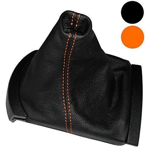 Aerzetix -Schaltsack Schalthebelmanschetten Schalthebelmanschette Schaltbetätigungs Schwarze Farbe 100% Leder orangen Nähten