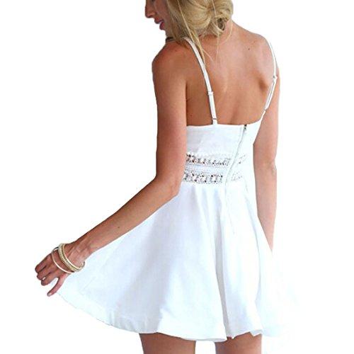 JXLOULAN Damen Sommer-Spitze-Stitching-Kleid Setzen Sie auf eine große Sling-Strand-Kleid Weiß