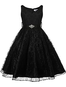 HOTOUCH Mädchen Kleid Partykleid Schöne Plissee V-Ausschnitt Mesh Lace Blumenmädchen Kleid