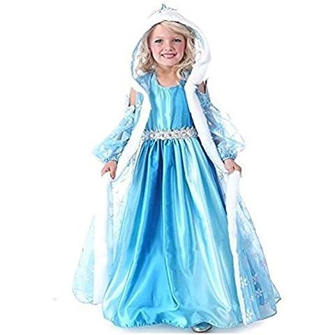 Traje Frozen Elsa tamaño 140 7-8 años de reina de la nieve vestido con el casquillo y la capa de chicas (comprobar el tamaño de las medidas en