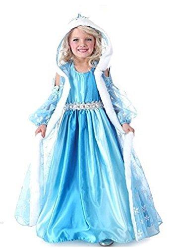 Traje Frozen Elsa tamaño 100 2-3 años de reina de la nieve vestido con el casquillo y la capa de chicas