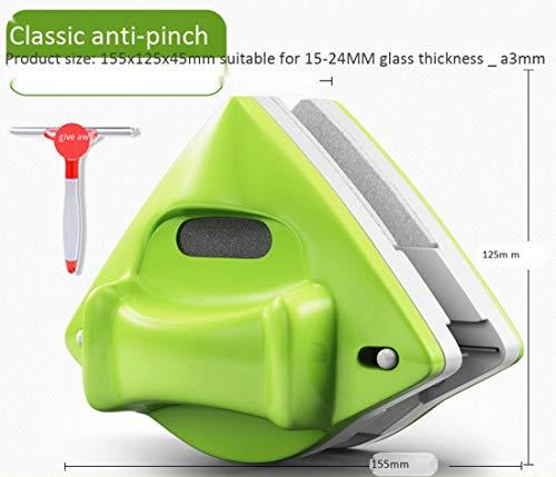Doppelseitiger Magnetischer Glaswischer Einstellbar Magnetisch Geeignet Für Glas/Spiegeloberflächen,Green,5-30
