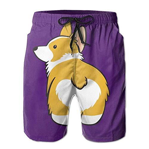 lleyball Shorts, Funny Cute Corgi Butt Purple Beach Lounge Shorts for Men Boys, Outdoor Short Pants Beach Accessories Medium ()