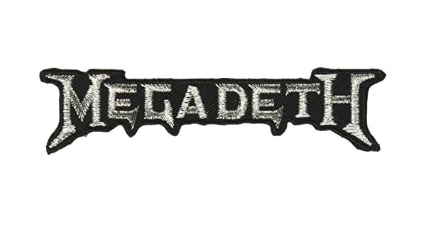 4 x 0.1 x 1 Embroidered PATCH Flicken MEGADETH Silver Logo High Quality Iron-On // Sew-On Officially Licensed Rock Artwork