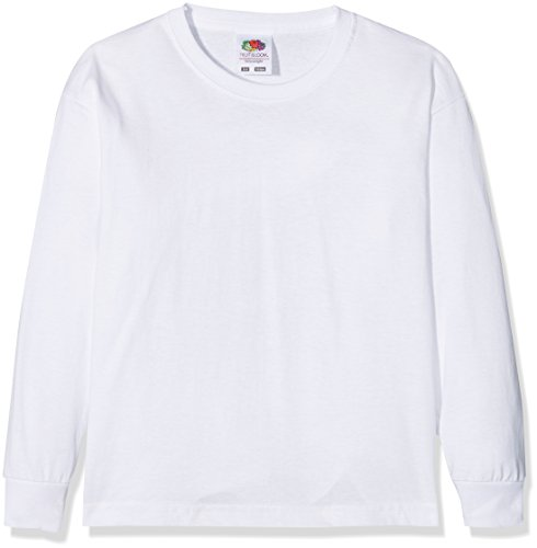 Fruit of the loom Jungen Langarmshirt Valueweight Long Sleeve T Kids, Weiß (White 000), 128 (Herstellergröße: 7-8) (Basic-langarm-lycra-shirt)