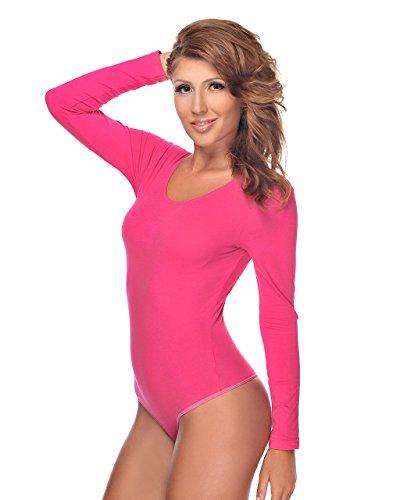 Bodys Für Frauen Pink (Evoni Damenbody | Overall Bodysuit mit Rundhals für Frauen | Langarm-Body in verschiedenen Farben | Optimale Alternative für Sport & Freizeit | Eleganter Jumpsuit(Medium, Pink))