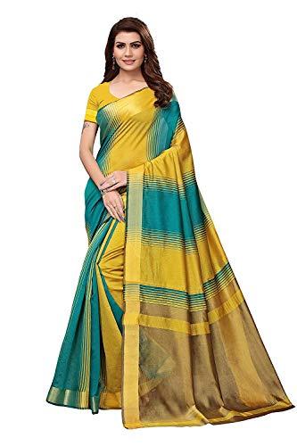 Kunst Seide Baumwoll Mischung Saree mit Blusenstück für Frauen & Mädchen,Party Wear Saree, Casual Saree, Abend Saree, Saree für Hochzeit, Kleid für Frauen, (Yellow) ()