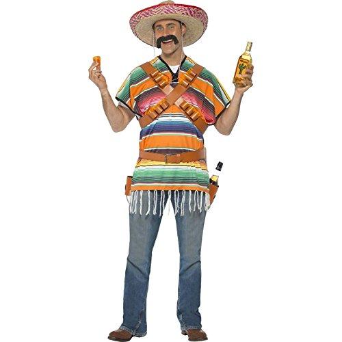 Smiffys, Herren Tequila Shooter Kostüm, Poncho, Patronengürtel und Gürtel mit Flaschen-Holster, One Size, (Tequila Kostüm Flasche)