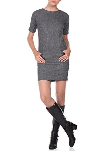 Abito a tubino in grigio - RED Isabel - vestito signore breve look retrò, mini abito con maniche corte, tratto, Modello: Dinant, grigio, IT 40