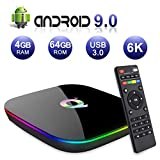 Q Plus Android 9.0 TV Box, Allwinner H6 Quad Core de 64bits Corter-A53 CPU de 4GB RAM 64GB de RAM Mali T720 GPU Compatible con 4K 6K de resolución 2.4GHz WiFi 100M LAN Enternet Smart Android Box