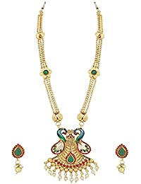 Trushi PEACOCK DESIGNER LONG NECKLACES SET WITH MULTICOLOUR STONES AND PEARL DROP FOR WOMEN AND GIRLS