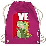 Valentinstag - Dinosaurier LOVE - Valentinstag Partner-Look links - Unisize - Fuchsia - WM110 - Turnbeutel & Gym Bag