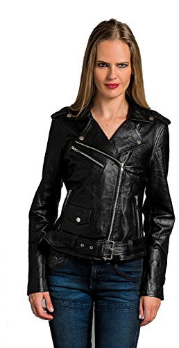 Urban Leather Damen Jacke Biker Perfecto Ladies, Schwarz, Große : 2XL