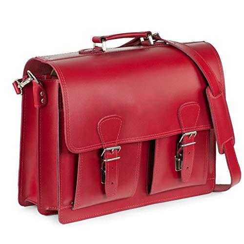 Klassische Aktentasche/Lehrertasche Größe L aus Leder, für Damen und Herren, Kirsch-Rot, Hamosons 600 -