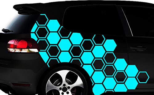 HR-WERBEDESIGN Hexagon Pixel Cyber Camouflage XXL Set Auto Aufkleber Wabe Sticker Tuning Wandtattooq