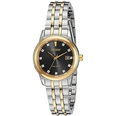 Citizen Eco-Drive ew2394–59E Donna Bicolore Crystal Watch w/Data - 59e Eco Drive