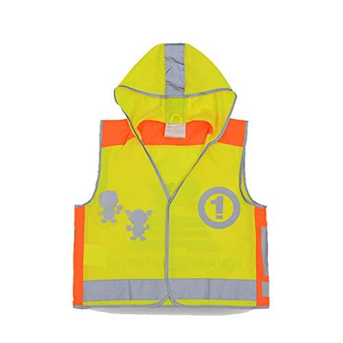SXY Kinder Reflektierende Sicherheitsweste Schule Kinder Trainingsanzug Overalls Atmungsaktive Weste Klettverschluss Tragen Print Weste Kleidung (Größe : M) (Kind Trainingsanzüge)