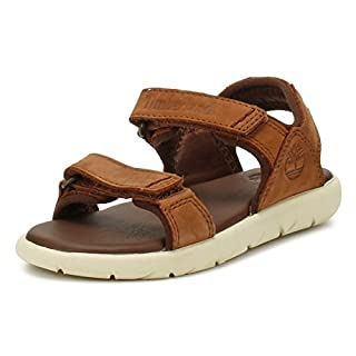 Timberland Unisex-Kinder Nubble Leather 2 Strap Sandalen, Braun (Cappuccino Aia), 28 EU