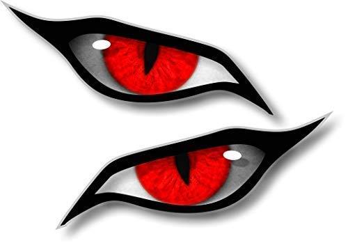 Paar Evil Eyes mit Roten Iris Vinyl Drohne Motorrad Helm Auto Aufkleber Sticker 70x30mm Each -