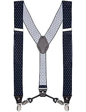 Buyless Fashion Tirantes elásticos y ajustables en forma de Y para hombres con clips de metal de 3,8 cms de ancho