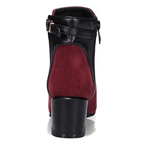 Zanpa Femmes Mode Bootie Chaussures Western Bottes Wine Red