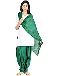 Funfabrics Women Cotton Solid Full Free Size Green Designer Plain Patiala Salwar Dupatta Set Cotton Patiala Dupatta