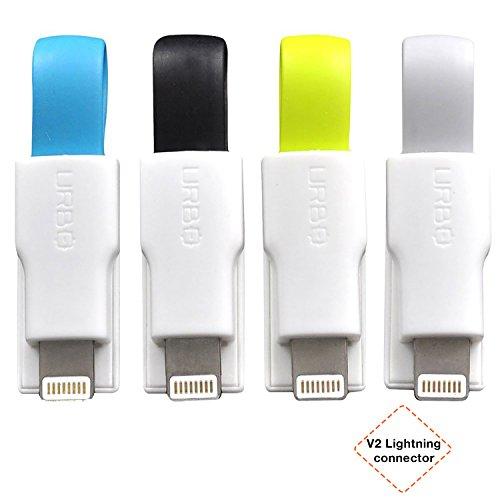 Urbo Cable Cargador Llavero v2 con USB-A a Conector Lightning para Dispositivos Apple (Paquete de 4)